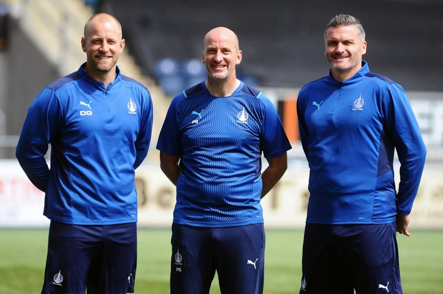 The new Falkirk coaching team will get their first taste of competitive action at the Falkirk Stadium and in front of supporters when they face Albion Rovers in their opening Premier Sports Cup group stage game on Tuesday night. (Pic: Michael Gillen)