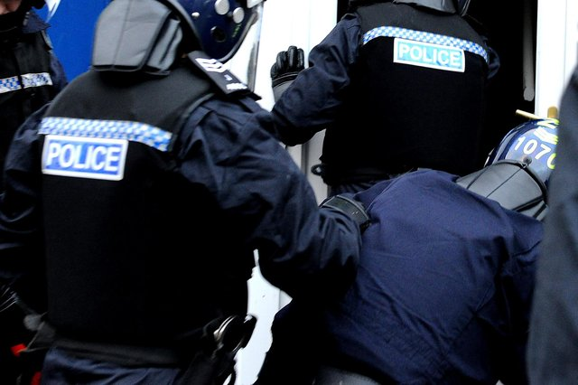 Police carried out raids at three premises in the Falkirk area