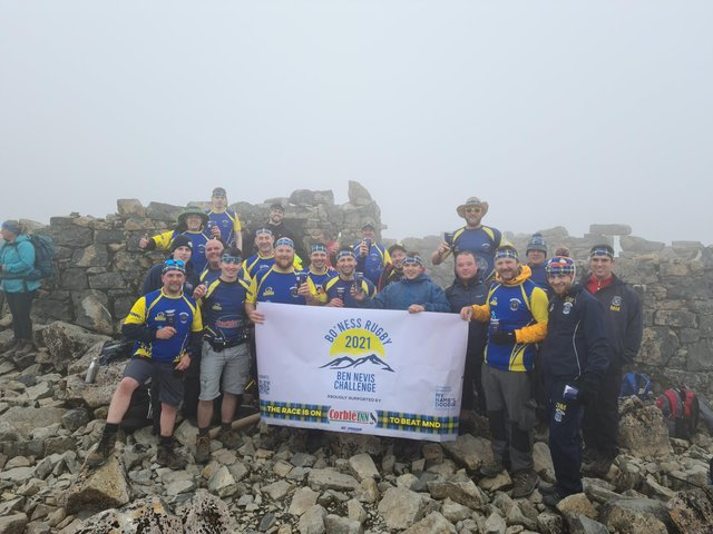The fundraisers from Bo'ness Rugby Club at the top of Ben Nevis