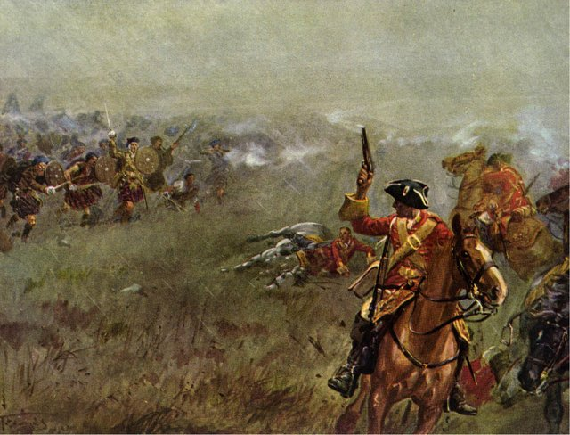 At the Battle of Falkirk the redcoat Dragoons face the Highland clansmen.