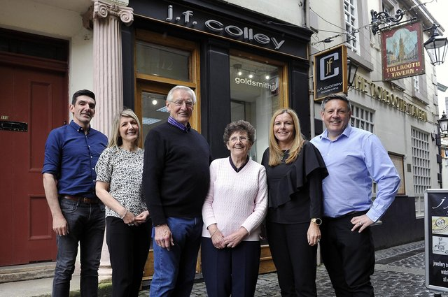 Falkirk firm JF Colley Goldsmiths is celebrating its 40th year in business. Pictured are the family: owner Gordon Colley; server Fiona Dawson; dad Jim Colley; mum Rae Colley; server Pamela Allison; and owner Stephen Colley. Picture: Michael Gillen.