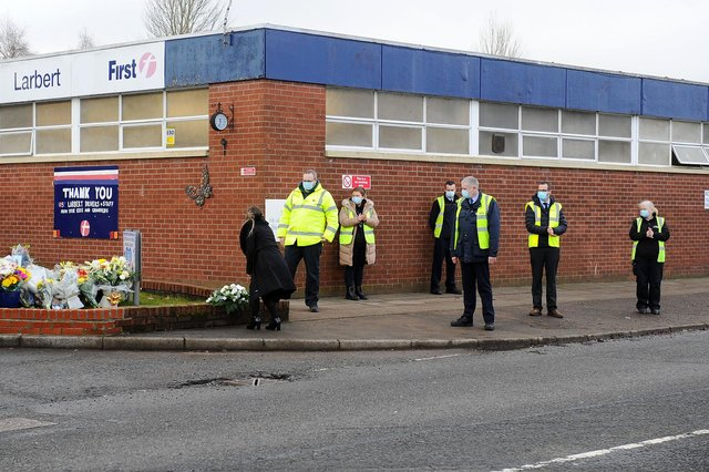 First Bus Larbert depot staff at the funeral of popular driver, Thomas Rooney (Pic: Michael Gillen)