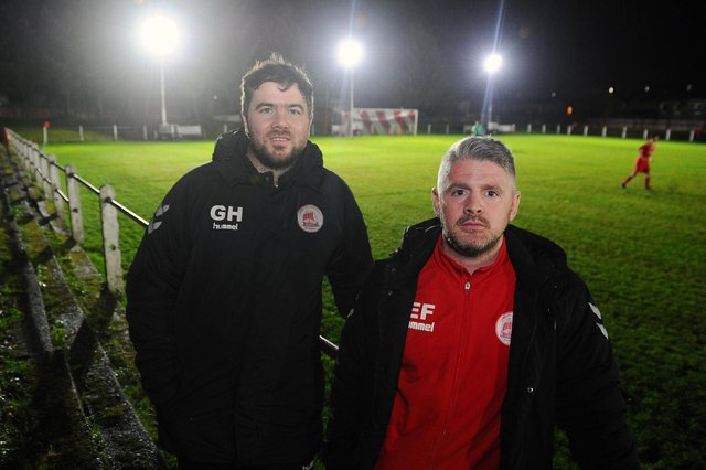 Eamon Fullerton (right) with former Camelon manager Gordon Herd