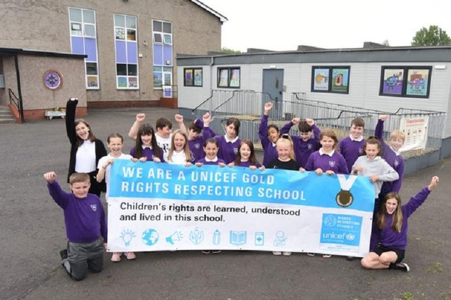 Langlees pupils celebrate their award