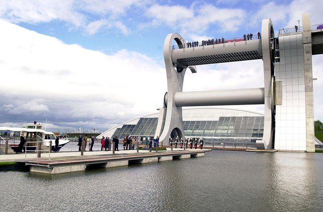 The official opening of The Falkirk Wheel back in 2002