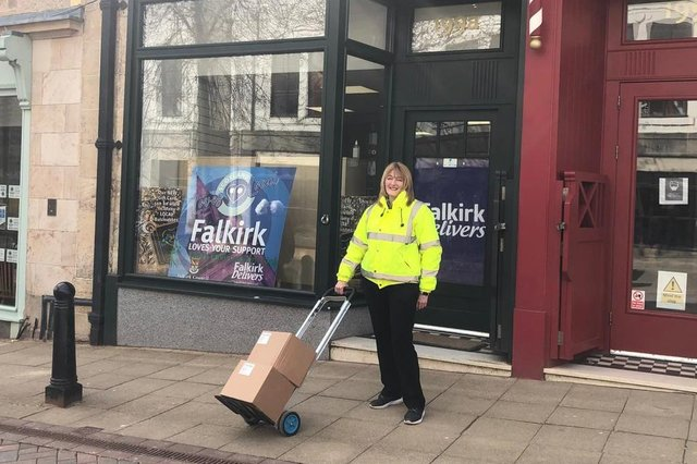 Falkirk Delivers has been supporting businesses starting to reopen by handing out hand sanitiser