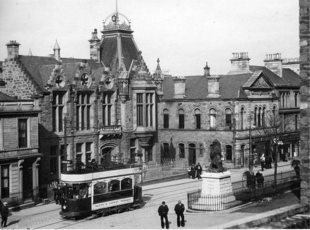 The burgh buildings pictured in 1905 with one of the first trams.