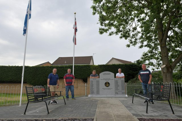 From left: Gordon Walker, Carronshore Heritage Forum committee member; Colin Wilson, treasurer; Craig Martin, secretary; John McLuckie, chairman; and Stewart Wright, committee member. Picture: Michael Gillen.