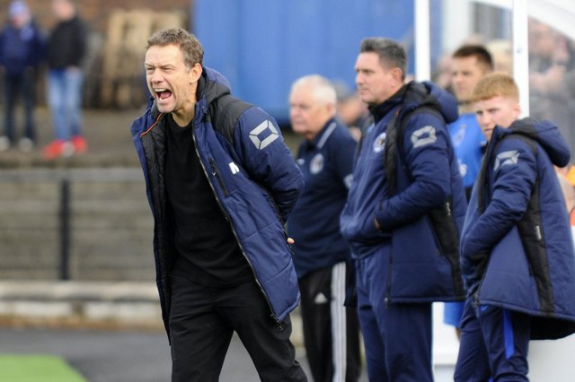 Pic by Alan Murray; 19/10/2019; Bo'ness Utd FC v Sauchie Jnrs FC; Bo'ness; Newtown Park; Falkirk District; Scotland;