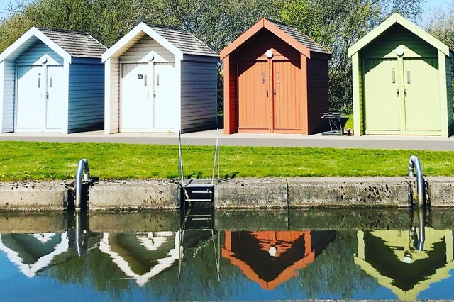 The multi-coloured huts at the marina at The Kelpies  (Pic: Helen McKinven)