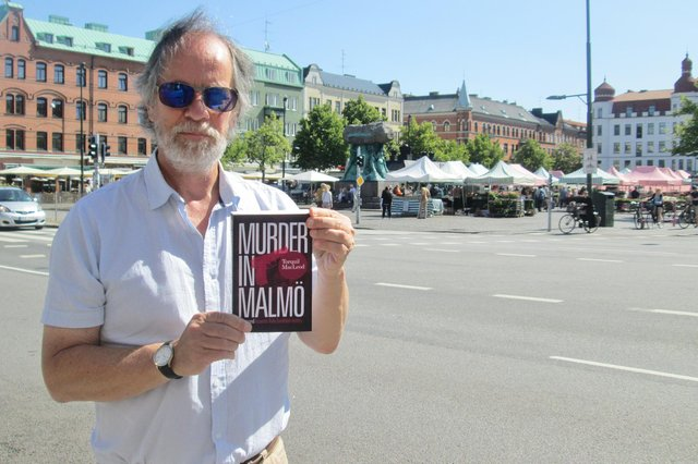 Author Torquil MacLeod at the market in Möllevången in 2013 for the release of the second book in the Anita Sundstrom series, Murder in Malmo