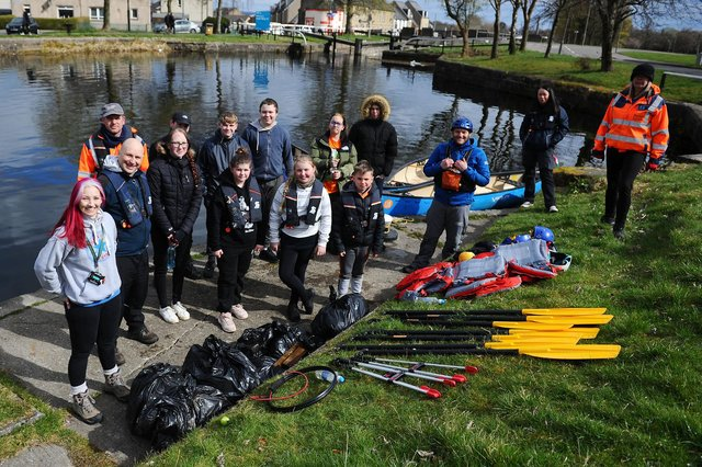 The youngsters get kitted out for a paddle on the canal during yesterday's clean up