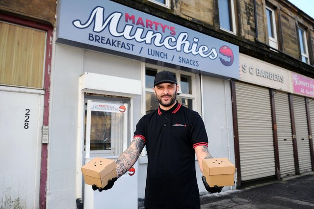 Marty's Munchies owner Martin Letham has enjoyed a busy few weeks since opening in Main Street, Camelon. Picture: Michael Gillen.