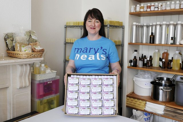 Janice Evans who's making 1000 soap bars for Mary's Meals.