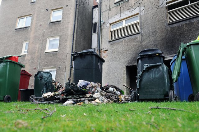 The bins were set on fire in a storage area outside a block of flats on Sunday and yesterday there has been another fire in nearby Derwent Avenue