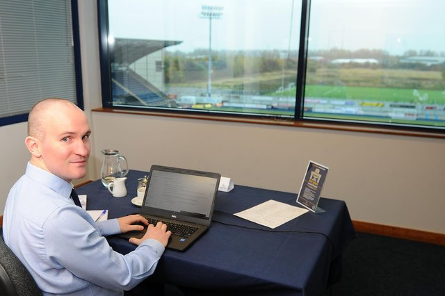 Jonathon Reilly, of The Falkirk Herald, was given access to one of Falkirk FC's hot desks. Picture: Michael Gillen.