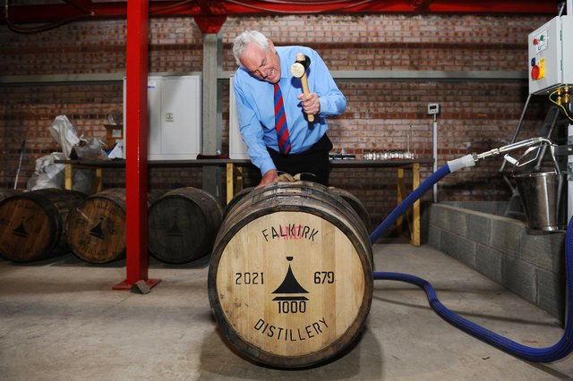 George Stewart seals up the 1000th cask of whisky at Falkirk Distillery