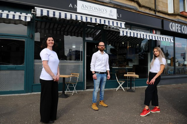 Antonio's Deli staffAlina Ionescu, Andrea Risiglione andNatalia Bator are preparing to reopen the Falkirk shop on Thursday, when customers will be able to settle their bill using cryptocurrency. Picture: Michael Gillen.