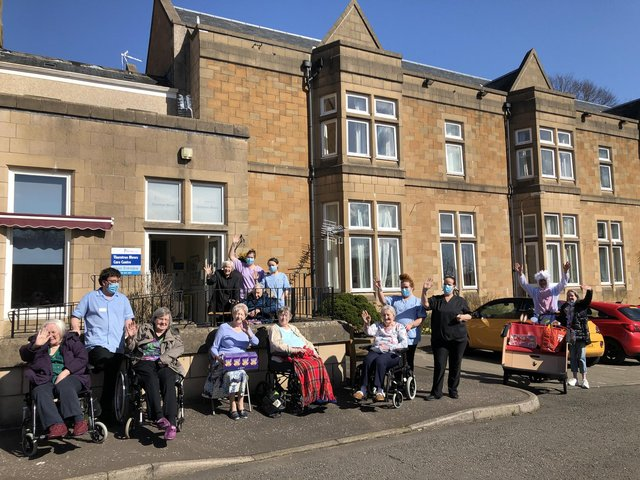 Cycling Without Age Scotland volunteers on their mission to deliver Easter eggs to care homes in Falkirk area.