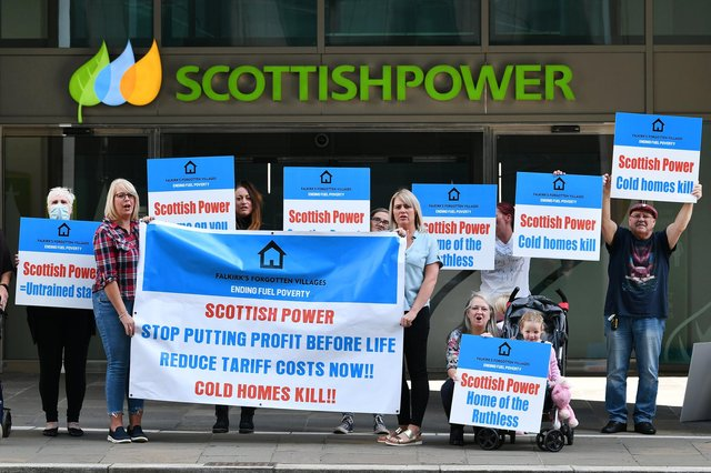 Falkirk's Forgotten Villages - Ending Fuel Poverty campaigners gathered outside Scottish Power's HQ last year and more protests are on the way