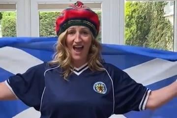 Denny Primary School head teacher Rachel Coull gives her pupils the green light to watch the Scotland match