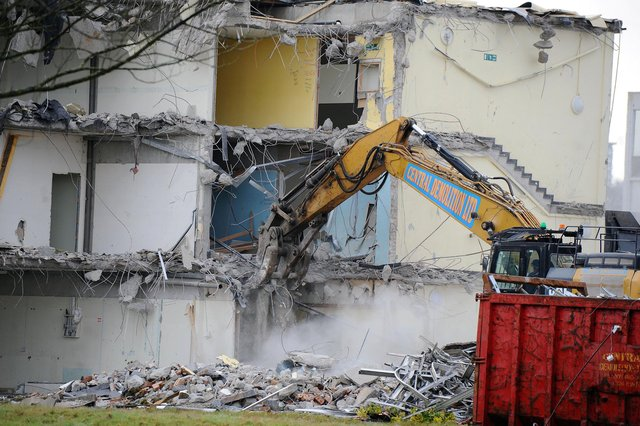 Looking into what remains of the college's rooms Picture Michael Gillen.
