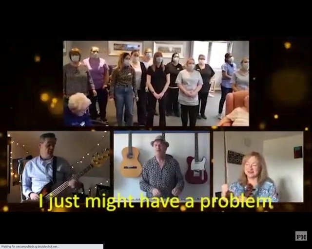 Carrondale Care Home staff performed Lean On Me by Bill Withers to entertain residents. Contributed.