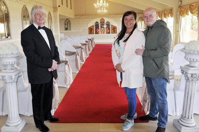 Three Kings owner David Cattanach and wedding competition winners, Lesley McGuinness and Chris O'Neill. Picture: Michael Gillen