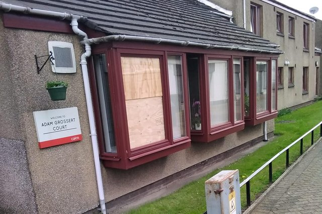 The window was smashed at some point between noon and 4pm on Sunday, May 9