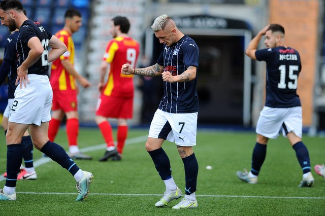 Callumn Morrison, Falkirk's top scorer last season, netted twice in the first half but was denied a hat-trick when Cameron Binnie saved his second half penalty