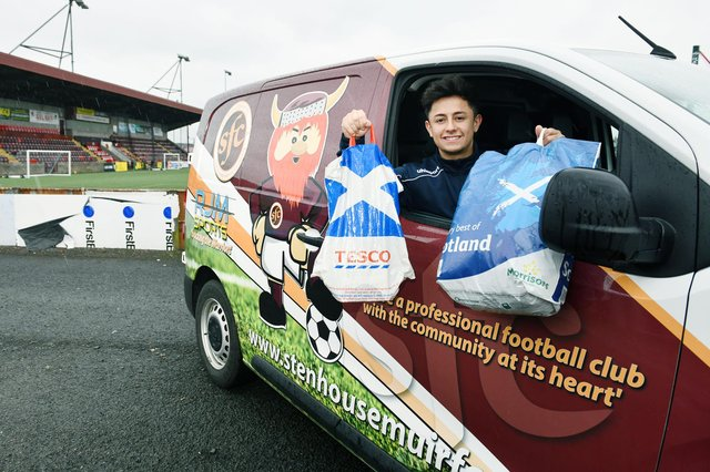 Stenhousemuir FC's Community Help Initiative volunteers will deliver Christmas and New Year's Day meals to those in need. Picture: Michael Gillen.