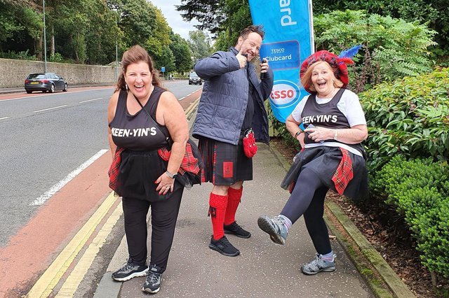 Falkirk residents Barbara Bryceland,Chris Judge and Jean Barr were among those who took part in the Virtual Kiltwalk Weekend 2020. Picture: Michael Gillen.