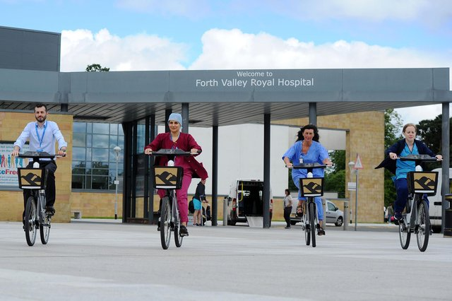 Scotland's largest e-bike scheme was launched at Forth Valley Royal Hospital by Forth Environment Link in 2019. Picture: Michael Gillen.