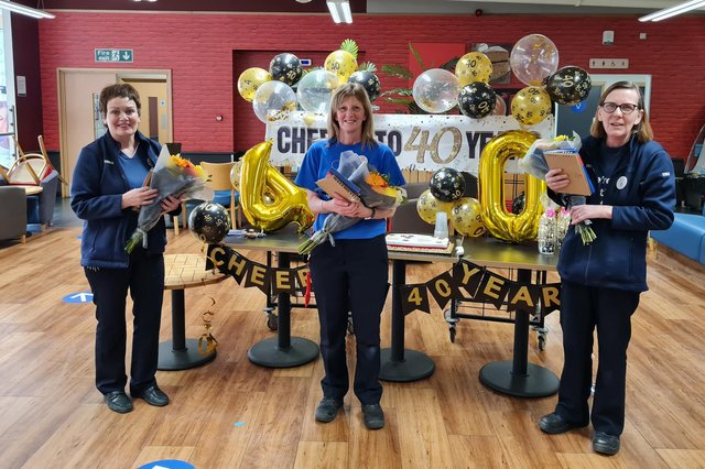 Long serving Tesco trio (from left) Lynne Connell, Linda Booth and Anne Anderson