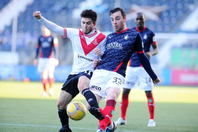 Airdrie's Thomas Robert and Falkirk's Sean Kelly compete for the ball as the two sides met earlier this season