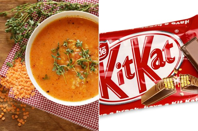Lentil soup with Kit Kat croutons? Just one of the many strange food combinations you love to eat.