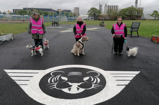 Members of the Dog Mothers who have been helping keep Inchyra Park safe and litter free