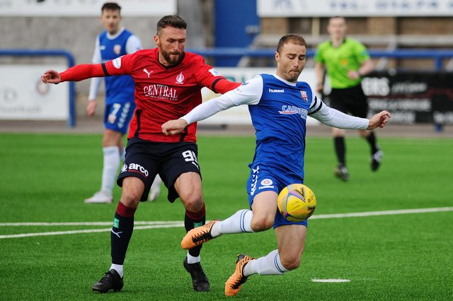 Action from the opening weekend of the League 1 season back in October as Falkirk co-manager/player Lee Miller competes for the ball with Montrose captain Sean Dillon at Links Park