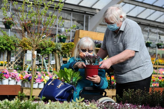 Jim and Doreen Simpson enjoy looking for plants in Torwood Garden Centre now it has reopened its doors to customers again