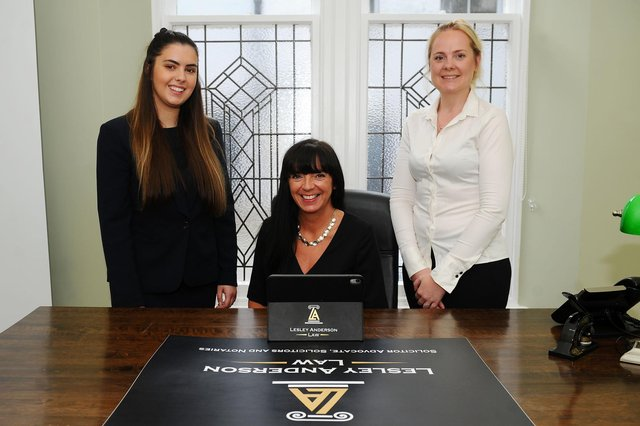 From left: New Lesley Anderson Law trainee and former Denny High School pupil Rachel Ferguson; Lesley Anderson, owner; and Claire Binnie, PA. Picture: Michael Gillen.