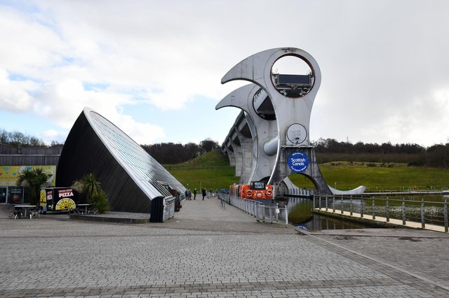 A fire took hold near The Falkirk Wheel on Saturday afternoon. Picture: Michael Gillen.