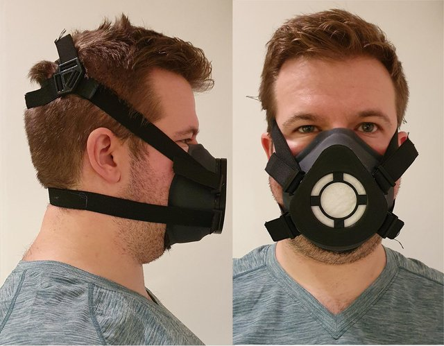 The masks include 3D-printed components designed using photos taken with smartphone