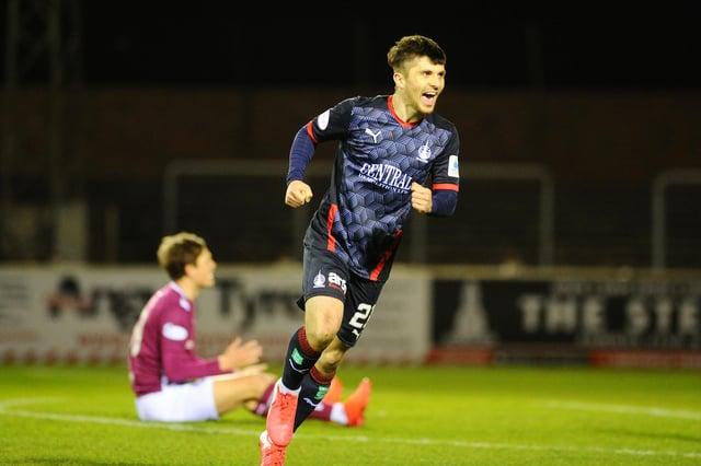 Charlie Telfer celebrates Falkirk's first goal