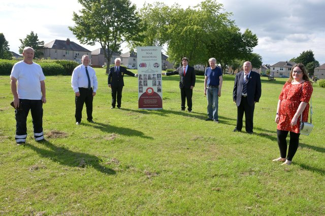 Ancre Somme Association Falkirk branch presents a banner to Bainsford War Memorial Association at the planned site for the lasting legacy in Dawson Park. Provost William Buchanan and Councillor Robert Bissett, centre. Picture: Michael Gillen.