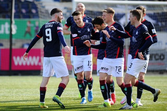 Aidan Keena celebrates scoring Falkirk's second goal today (Picture Michael Gillen)