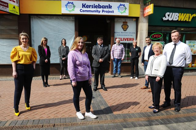 Kersiebank Community Project has launched a new bereavement support group. Pictured: Donna Murray, KCP fundraiser; Michelle Murray, fundraiser; Janette McGregor, marketing; Lynne Fitzpatrick, Poppy's & Petals; Christopher King, Kings Funeral Directors; Bindi Green, KCP chairwoman; Nawaz Haq, Helix Hotel; Marilyn Mcilvaney, KCP; and Cllr Robert Spears. Picture: Michael Gillen.