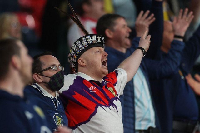Lewis Connolly was among the Tartan Army at Wembley (Photo by CARL RECINE/POOL/AFP via Getty Images)