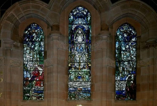 Stenhouse and Carron stained glass windows.