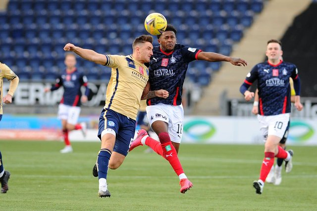 Forfar's Ross Meechan and Falkirk's Akeel Francis compete for the ball in the 1-1 draw between the two sides earlier this season