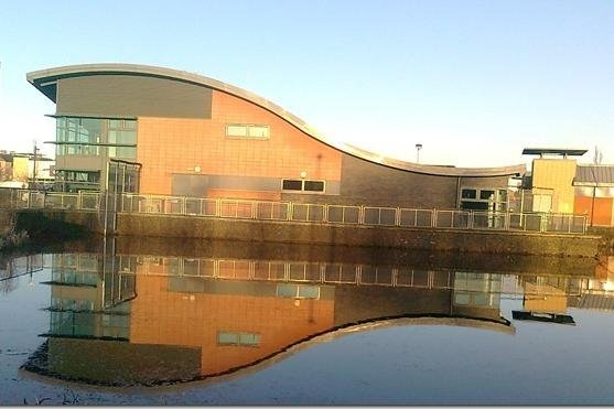 """Falkirk Council has confirmed the area of water at Larbert Library is a """"no fishing"""" zone. Picture: Jim Ferrier."""